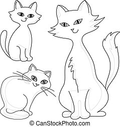 Cats, contours - Three kind cheerful domestic cats, vector...