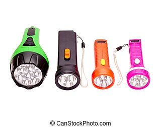 four differently colored LED flashlight on a white...