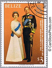 Royal family - BELIZE - CIRCA 1979: A stamp printed in...