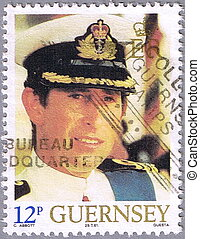 Portrait of Prince Charles - GUERNSEY - CIRCA 1981: A stamp...