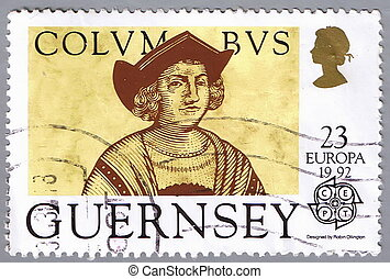Portrait of Columbus - GUERNSEY - CIRCA 1992: A stamp...