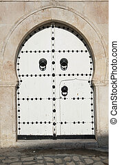 White Tunisian Door - Image of traditional white Tunisian...