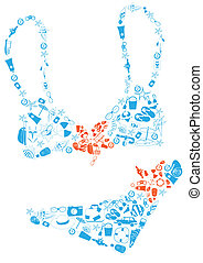 bikini - Vector illustration of bikini made of summer...