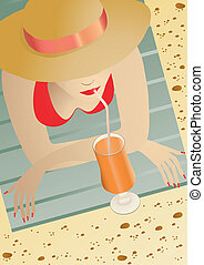 girl lying - Vector illustration of a girl lying on the...