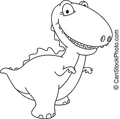 laughing dinosaur outlined - illustration of a laughing...