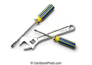 Destornilladores, llave inglesa, aislado, blanco