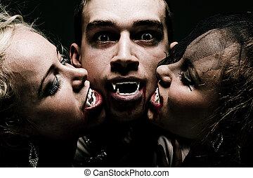 affamé, vampire, famille