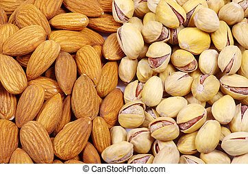 nuts  - various nuts on a background