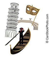 Symbols of Italy as Pisa tower, venetian mask and gondola