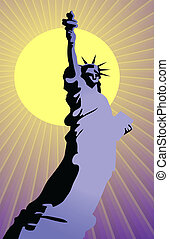 liberty statue - Vector illustration of liberty statue on...