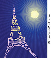 Eiffel tower - Vector illustration of Eiffel tower in Paris...