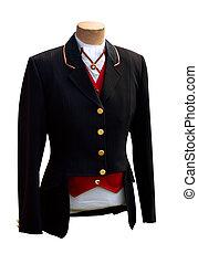 negro, equitación, chaqueta