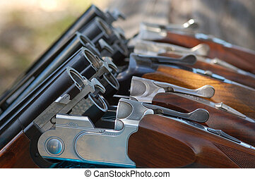 Guns in a Row 1 - Guns laid against a fence in readiness for...