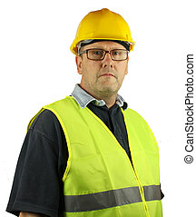 Construction worker wearing glasses with hard hat