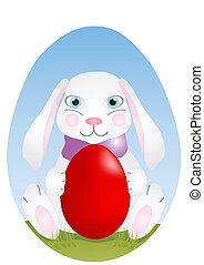 Easter rabbit - Vector illustration of Easter rabbit with...