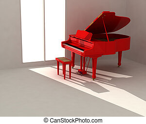Red piano in white room - Red classic piano in empty white...