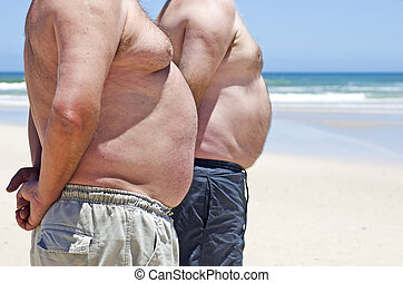 Close up of two obese fat men of th