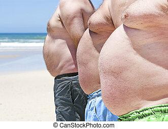 chiudere, su, Tre, obeso, grasso, uomini, spiaggia