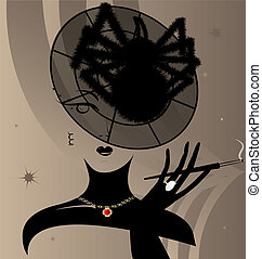lady and hat-spider - on a beige background with an abstract...