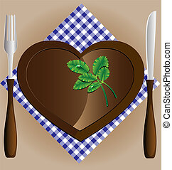 plate-heart, a knife and fork