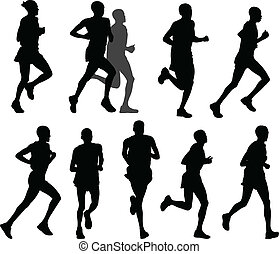marathon runners silhouettes - vector