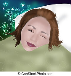 person in a bed waking up