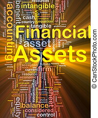Financial assets background concept glowing