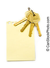 Sheet and keys isolated on white