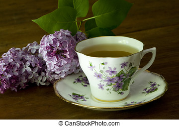 Spring Tea Cup and Lilacs - Grandma's violet flower tea cup...