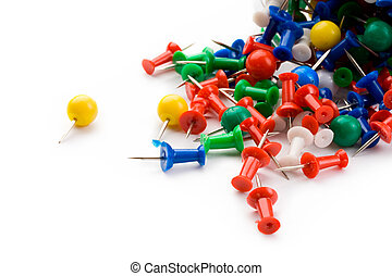 Push pins isolated on white