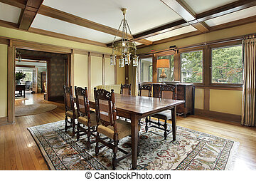 Dining room with wood beam ceilings