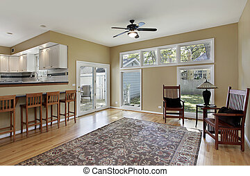 Family room with doors to patio