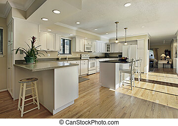 Large kitchen with granite island top