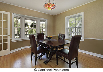Dining room with french door - Dining room in suburban home...