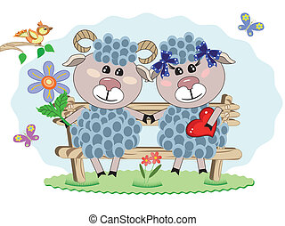 Two sheep at the bench