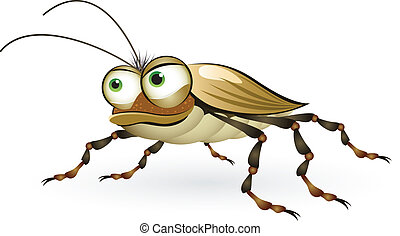 Cartoon beetle with a mysterious look. Illustration on white...