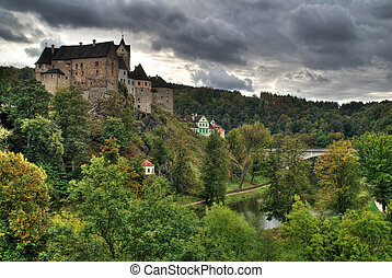 Castle Loket in the Northern Czech Republic is on the rock...