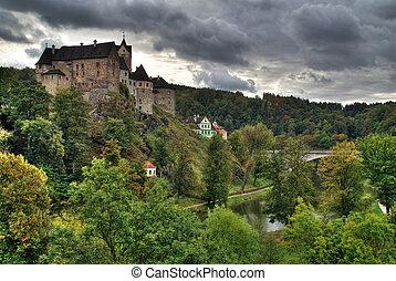 Castle Loket in the Northern Czech Republic is on the rock...
