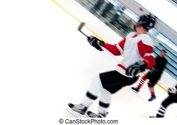 Hockey Players Fast Break - Abstract motion blur of hockey...