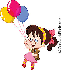 Girl with balloons - Little girl flying with balloons