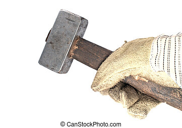 Dirty leather gloves and sledgehammer,isolated on white