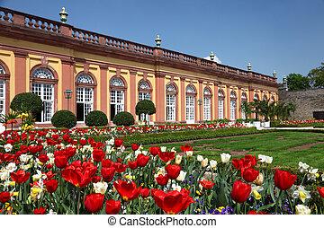 Beautiful flowers in the garden of castle Weilburg, Hesse...