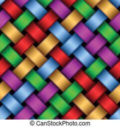 Multicolored ribbons - Seamless pattern of interwoven...