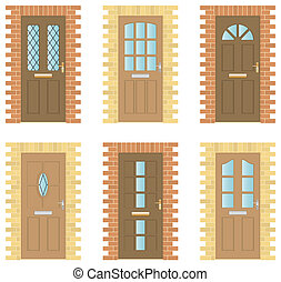Wooden Doors Set - Set of six exterior wooden Doors with...