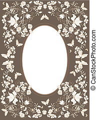 floral background - Decorative brown floral background with...