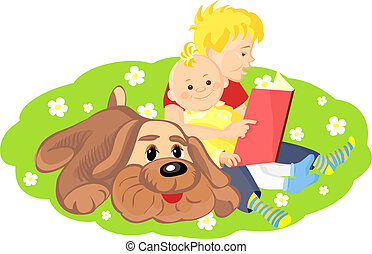 two boys and a dog sitting on a green lawn with white flowers and read a book