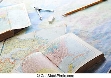 map and pensil