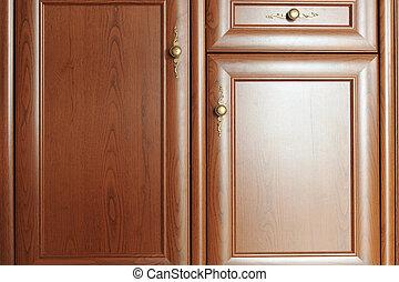brown  cupboard - Part of  door  brown  cupboard close up