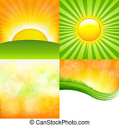 Sunrise Set - 4 Sunburst And Abstract Backgrounds, Vector...