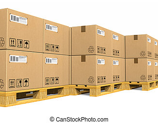 Stacks of cardboard boxes on shipping pallets